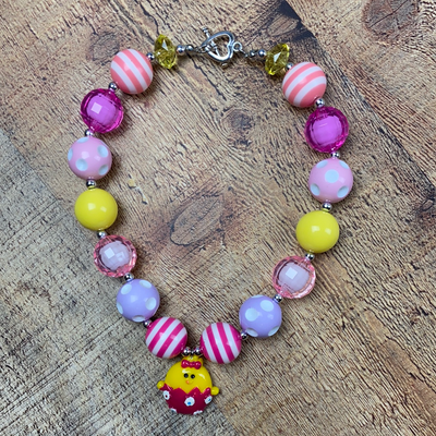 Easter Bubblegum Bead Necklace with Baby Chick Charm