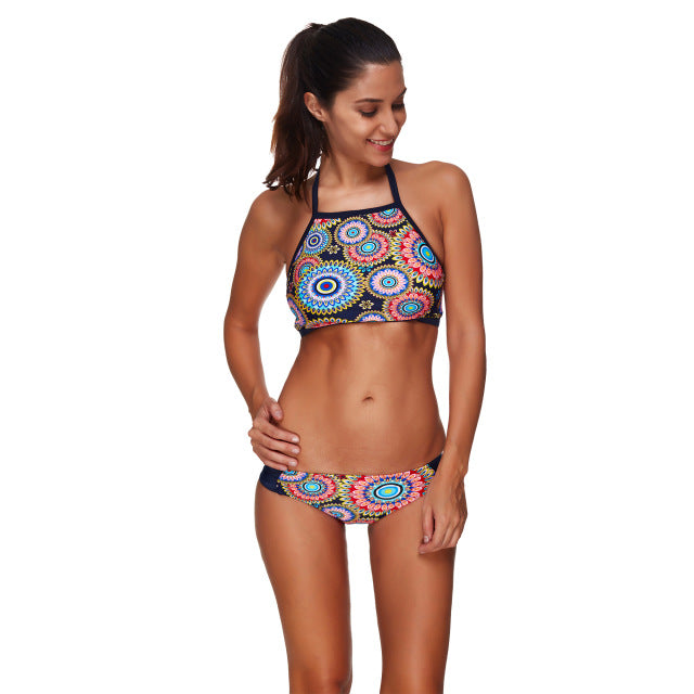 06f3380738654 lyric High Neck Bikini Set Tankini Bra Print Paisley Swimsuit Women  Swimming Suit Swimwear Sexy Summer