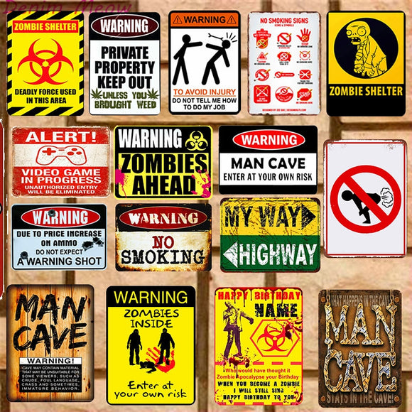 Man Cave Vintage Metal Wall Art