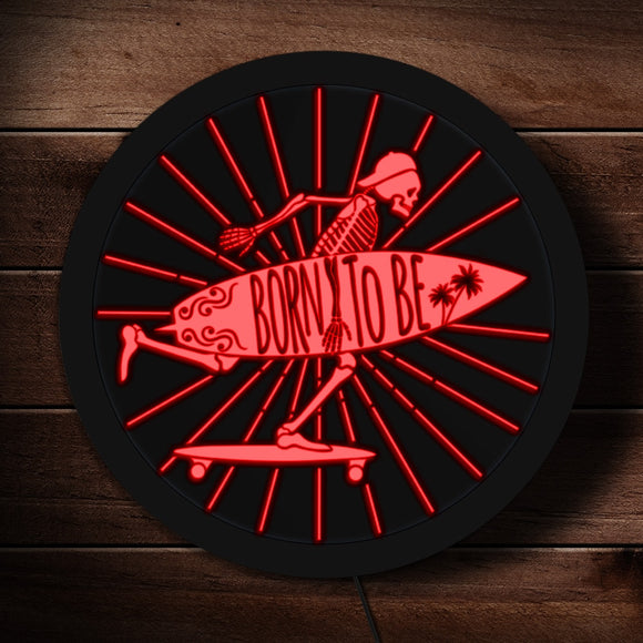 Born to Be Skeleton Surfer LED Neon Sign