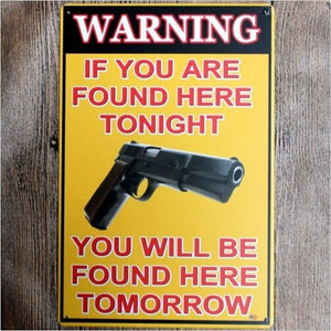 Man Cave Warning Gun Metal Sign