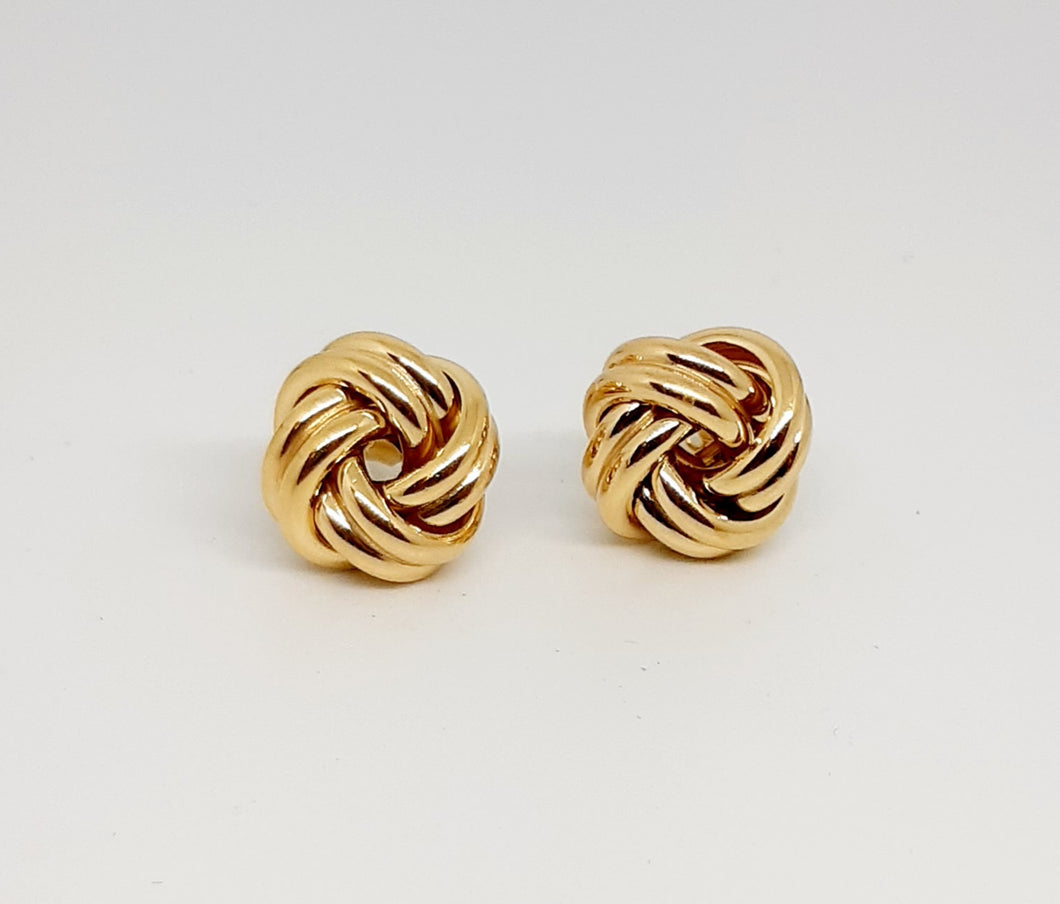 Gold large knot earring