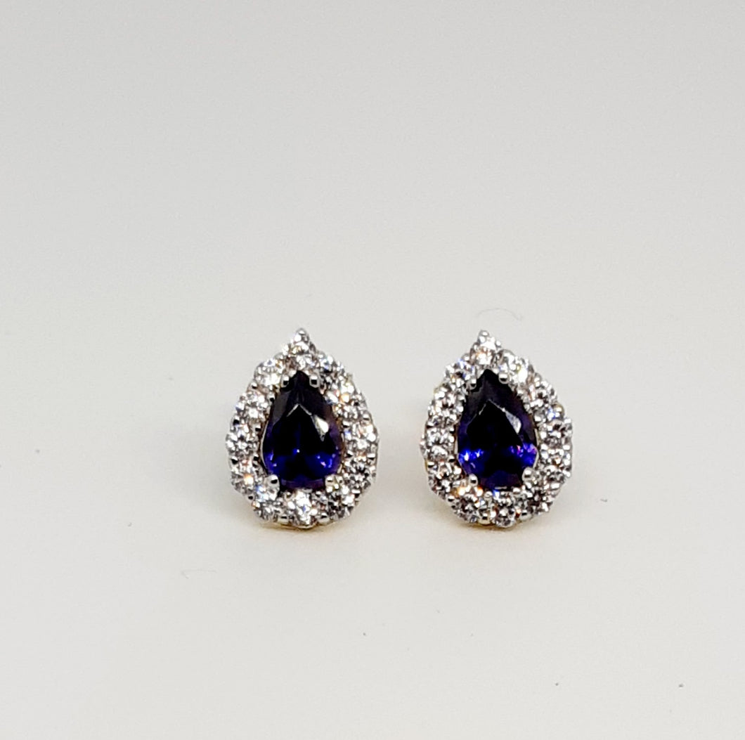Gold amethyst pear shaped studs