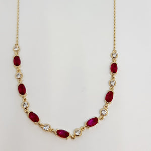 9ct yellow gold an ruby necklet