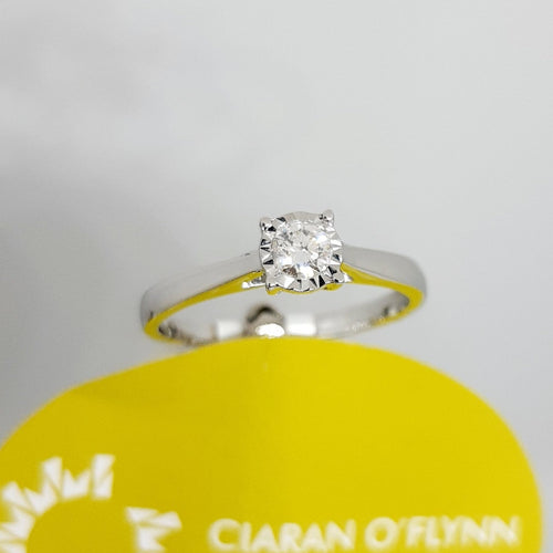 9ct Diamond Solitaire Engagement Ring