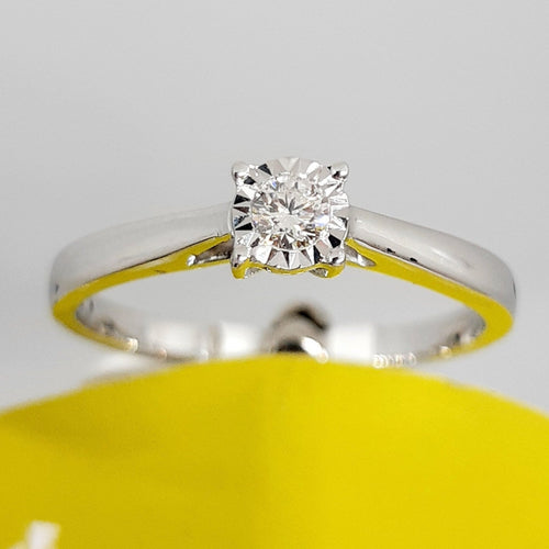 9ct White Gold Solitaire Diamond Engagement Ring