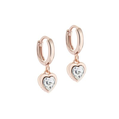 Crystal Heart Rose Gold Ear Charms