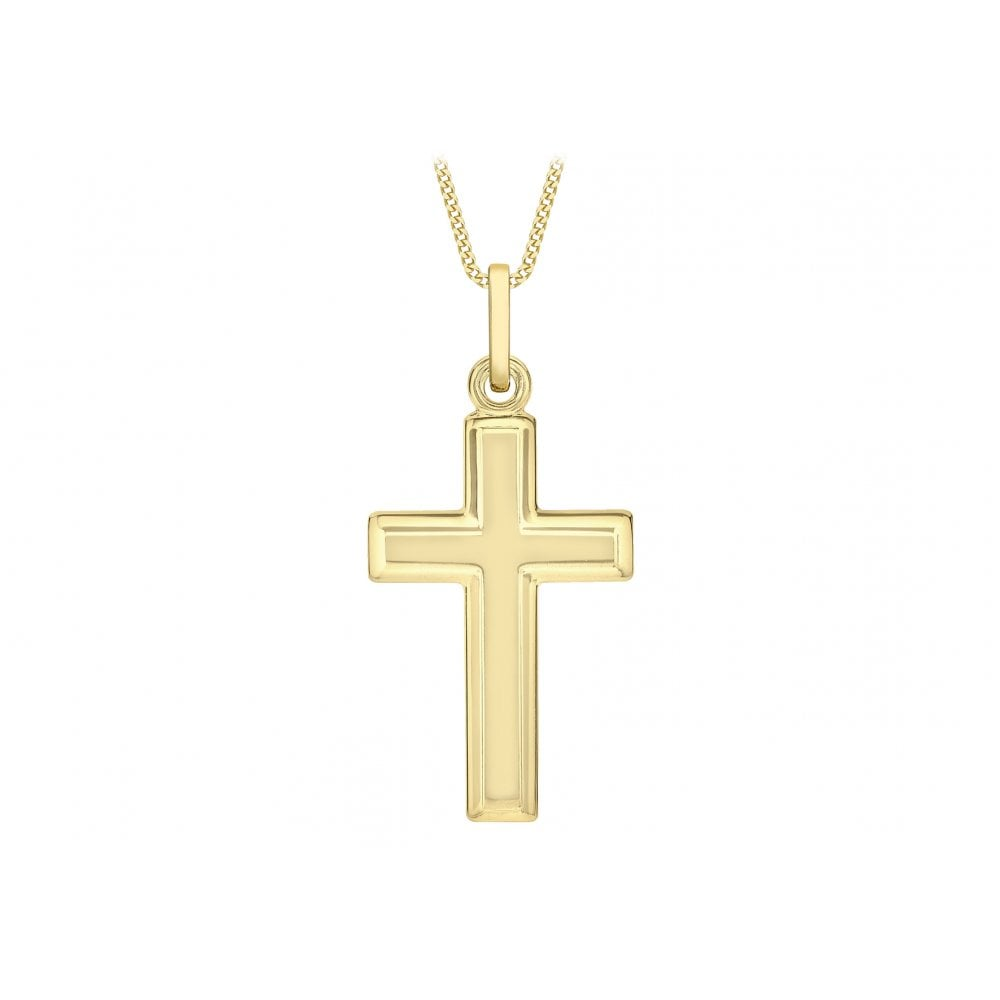 9CT YELLOW GOLD 16MM X 34MM BEVELLED-EDGE CROSS PENDANT