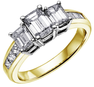 Diamond Emerald cut Trilogy Engagement Ring