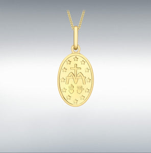 9CT YELLOW GOLD HOLY MARY OVAL REVERSIBLE PENDANT