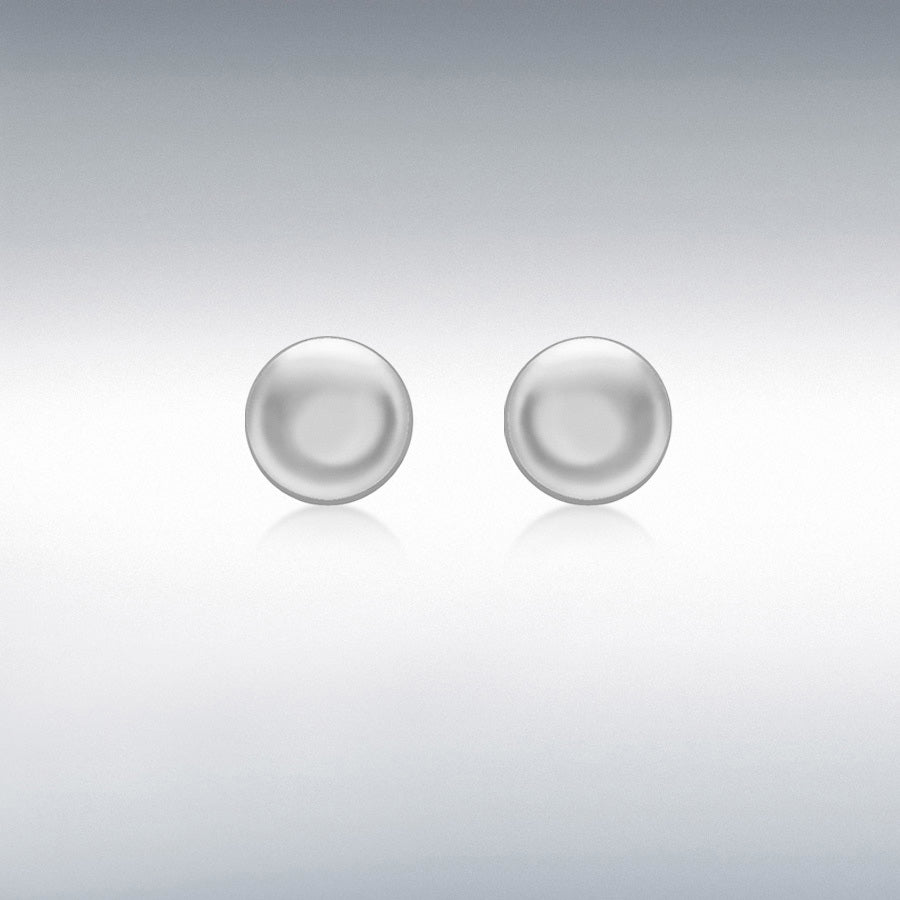 9CT WHITE GOLD 7MM BUTTON STUD EARRINGS