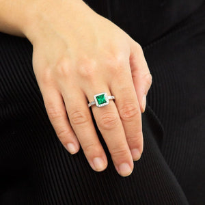 Art Deco Style Emerald Pave Ring With Diamonfire Cubic Zirconia