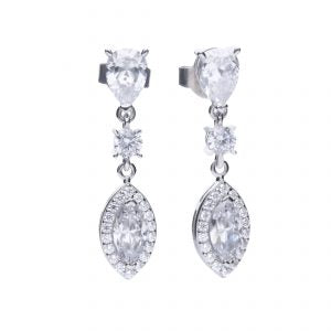 Marquise and Pavé Zirconia Drop Earrings