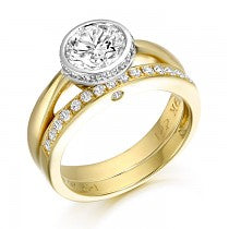 Load image into Gallery viewer, Gold Bazet Ballet CZ Ring Set