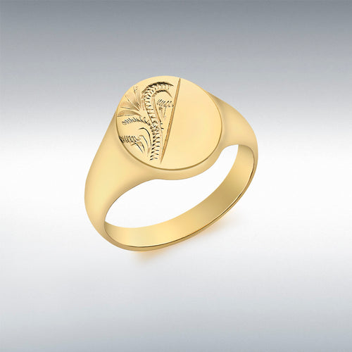 9CT YELLOW GOLD HALF-ENGRAVED OVAL SIGNET RING
