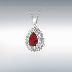 STERLING SILVER RED AND WHITE CZ CLUSTER TEARDROP PENDANT