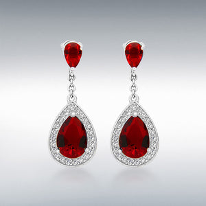 STERLING SILVER RED AND WHITE CZ TEARDROP EARRINGS