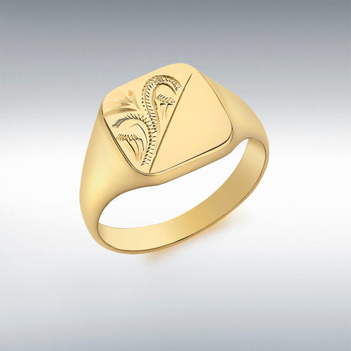 9CT YELLOW GOLD HALF-ENGRAVED SQUARE SIGNET RING