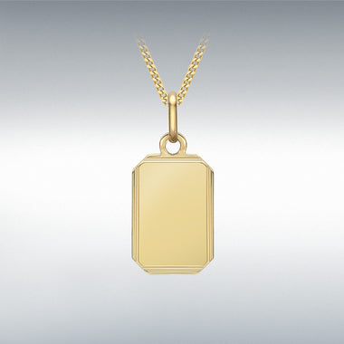 9CT YELLOW GOLD BEVELLED EDGE RECTANGLE PENDANT