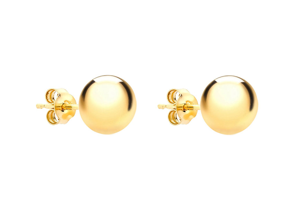 YELLOW GOLD 8MM BALL STUD EARRINGS