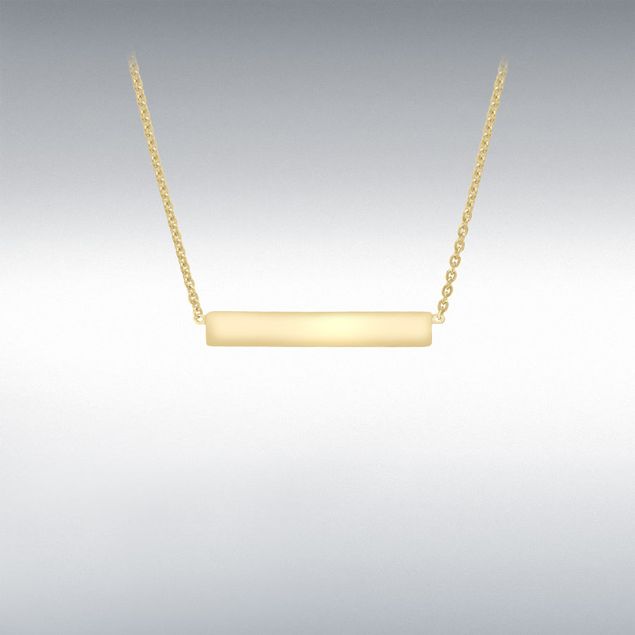 YELLOW GOLD HORIZONTAL BAR PENDANT ADJUSTABLE NECKLACE