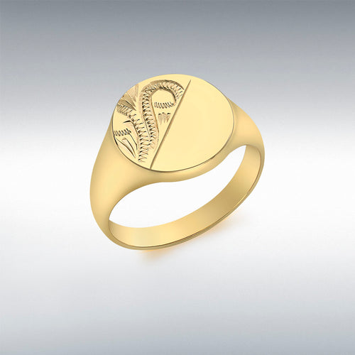 9CT YELLOW GOLD HALF-ENGRAVED ROUND SIGNET RING