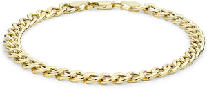 YELLOW GOLD HOLLOW OVAL CURB BRACELET