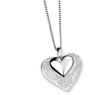 Silver Scratched & Polished Heart Pendant
