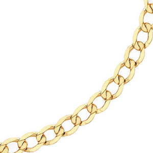 YELLOW GOLD 100 DIAMOND CUT FLAT CURB CHAIN