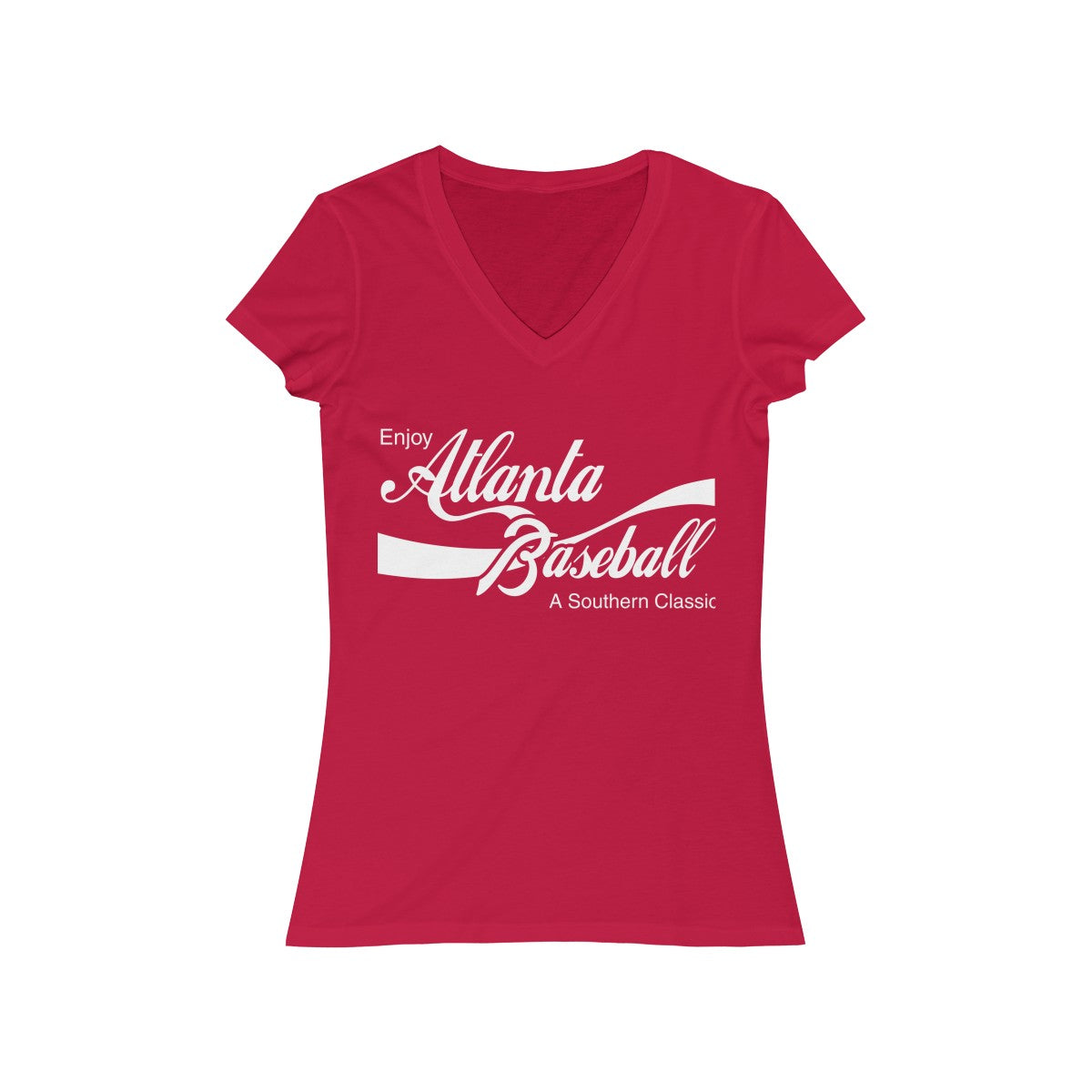 Atlanta Classic Ladies League Jersey Short Sleeve V-Neck Tee (red)