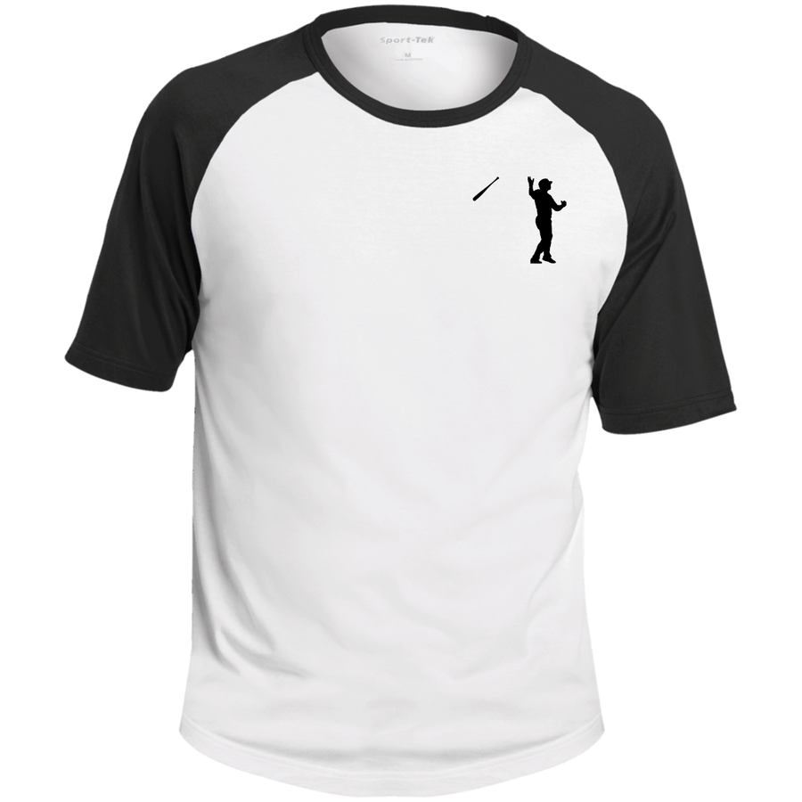 Bat Flip (Black)  SS Colorblock Raglan Jersey