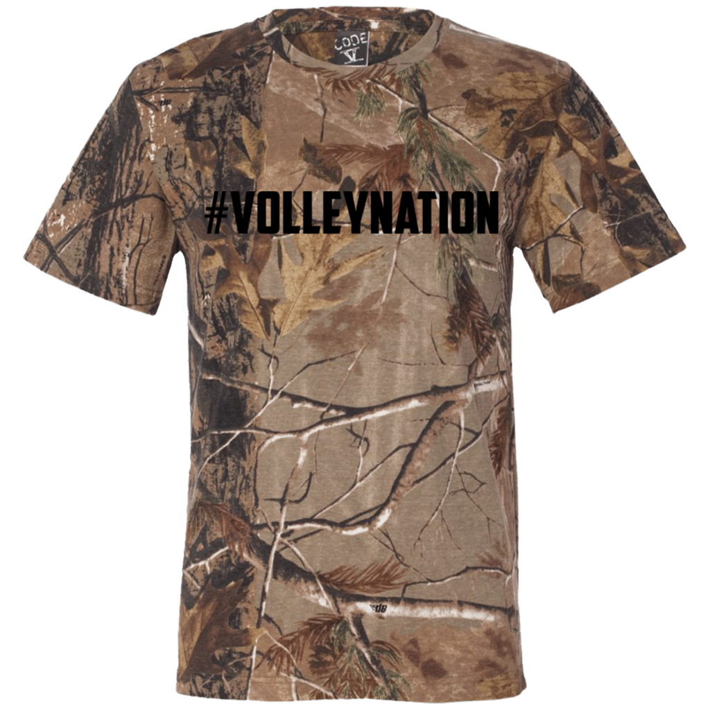 #VolleyNation (Black)  Short Sleeve Camouflage T-Shirt