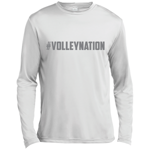 #VolleyNation (Grey)  Long sleeve Moisture Absorbing T-Shirt