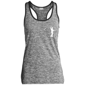 Bat Flip (White ) Ladies' Moisture Wicking Electric Heather Racerback Tank