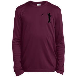 Bat Flip (black) Youth Long Sleeve Moisture-Wicking T-Shirt