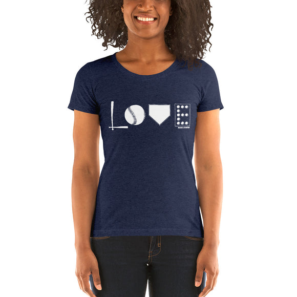 Love Baseball - Ladies' short sleeve Bella + Canvas TShirt