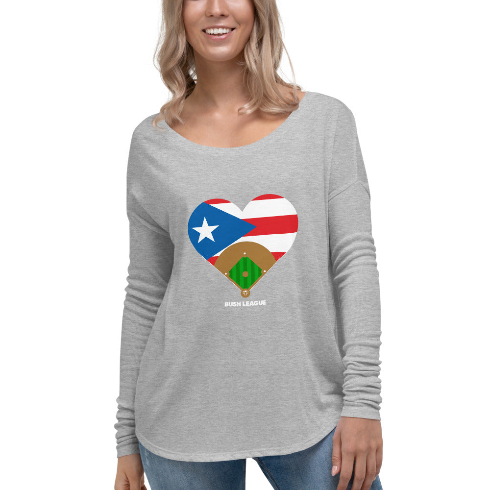Puerto Rico Relief Flag Field Ladies Scoop LS