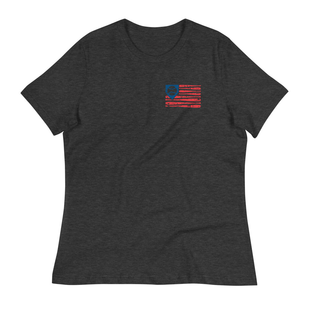Distressed Americana Baseball Flag Womens Relaxed Tee