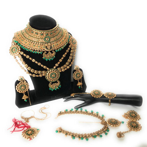 Kundan Bridal Jewelry Set - Green- 9 pcs