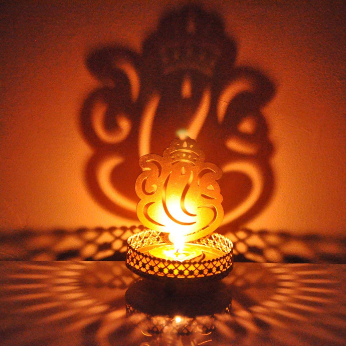 Metal Shadow Divine Lord Ganesha Tealight Candle Holder