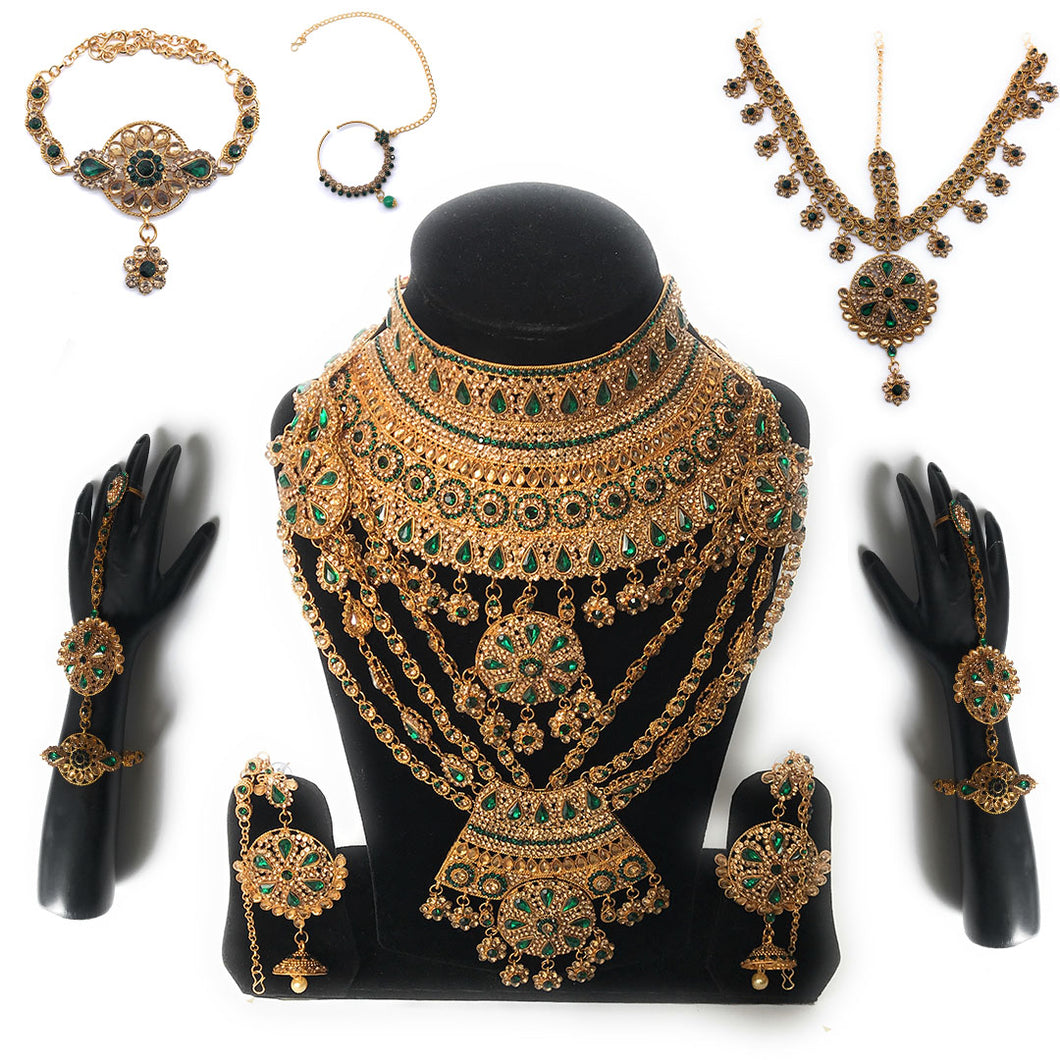 Indian Bridal Jewellery Set of 9 pcs I kundan Jewelry VictorianLadiesBridal Jewelry Set