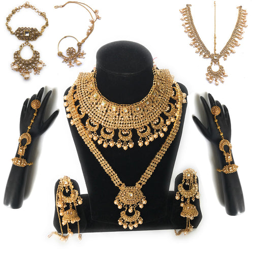 Kundan Bridal Jewelry Set -Golden- 9 pcs