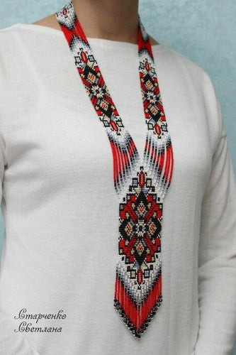 Red Beaded Boho Necklace with EarringsVictorianLadiesNecklaces
