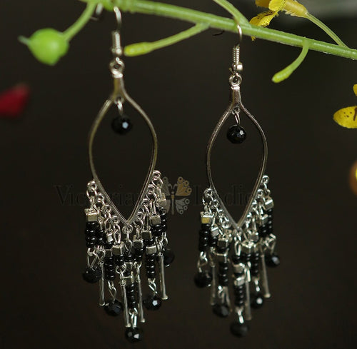 Long Black danglers earrings by Victorian Ladies