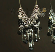 Load image into Gallery viewer, black earrings closeup-Victorian Ladies
