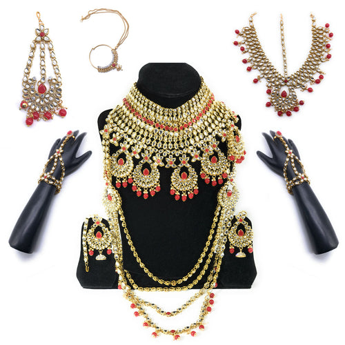 Kundan Bridal Jewelry Set - Red- 9 pcs