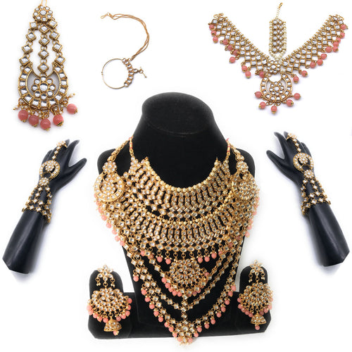 Kundan Bridal Jewelry Set -Pink- 9 pcs