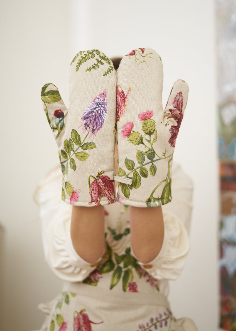 Green and Purple Floral Oven Glove