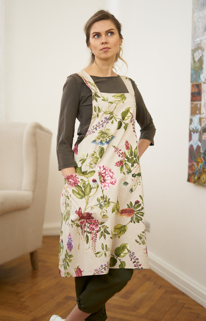 Green and Purple Floral Ladies' Apron with Crossed Straps,