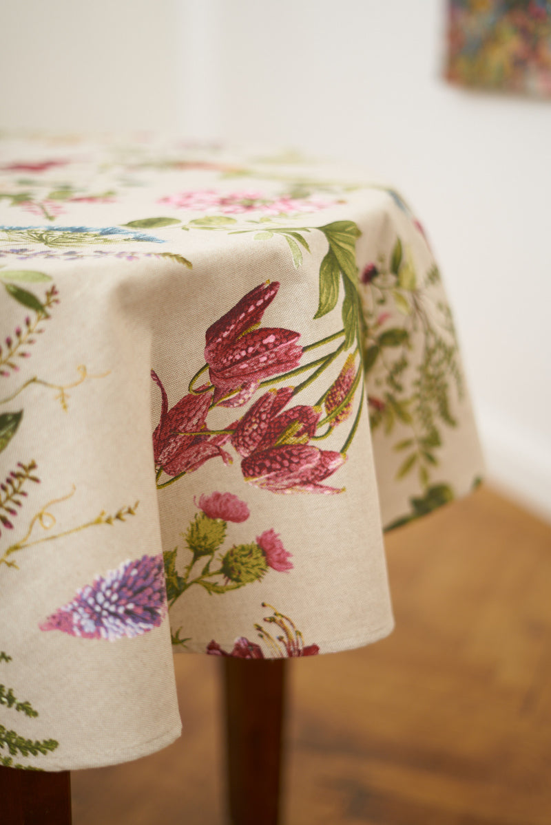 Round Botanical Pattern Tablecloth